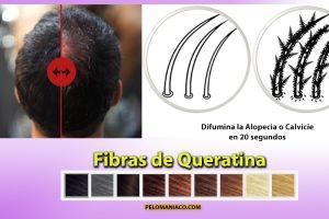 Fibras de queretina maquillaje para el cabello