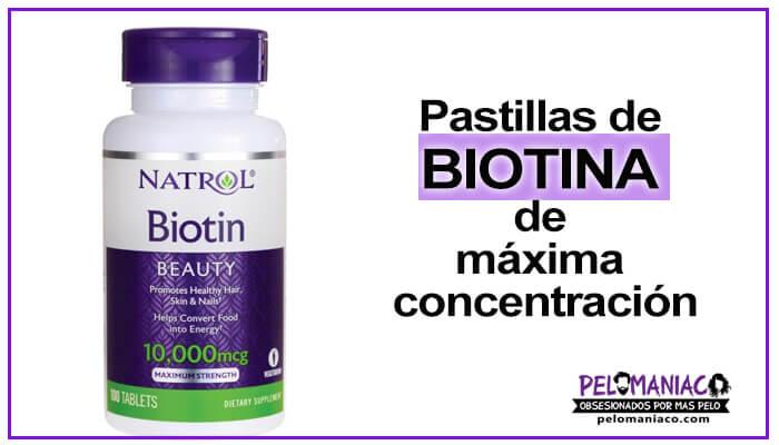pastillas de Biotina Natrol 10000 mcg para las canas