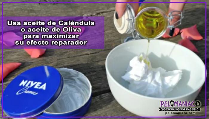 crema nivea y aceite de oliva para el cabello