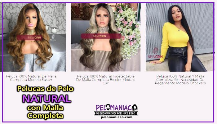 pelucas de pelo natural con malla completa